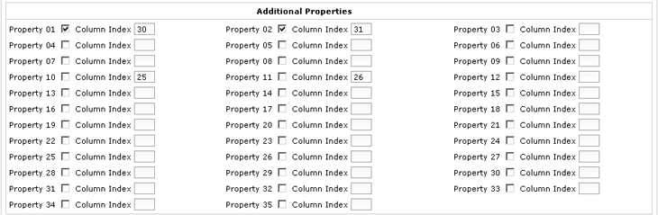 Import Additional Properties Section